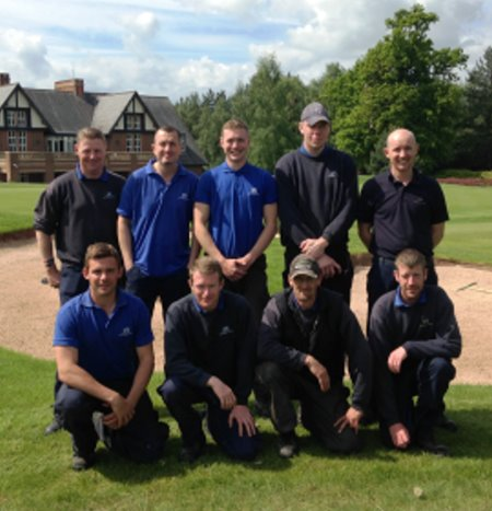 Carden Park Estates Team by the new bunker at 18th on the Cheshire Course