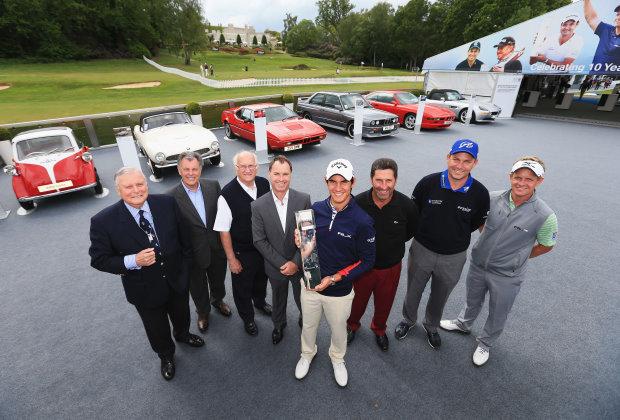 Former PGA Championship winners (L-R) Peter Alliss, Bernard Gallacher, Neil Coles, Paul Way, Matteo Manassero, Jose Maria Olazabal, David Howell and Luke Donald celebrate 60 years of the PGA Championship (copyright Getty Images)
