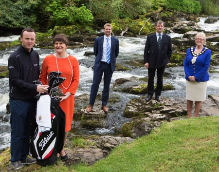European Tour Player Michael Hoey, Tourism Minister Arlene Foster, European Tour Commercial Director Mark Aspland, Galgorm Castle's Christopher Brooke & Ballymena Lady Mayor Audrey Wales (Photo courtesy of Galgorm Castle)