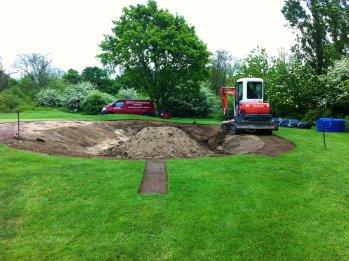 Speedcut Contractors building the new practice bunker at Abridge Golf Club, Essex