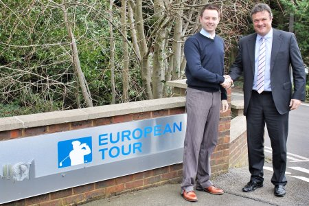 European Tour Sales Director Tim Shaw (right) with Richard Fryer, Footjoy's Sales and Marketing Director
