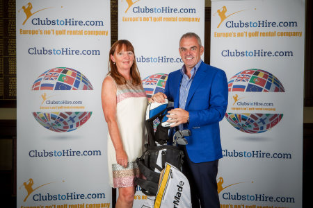 Paul McGinley presents ClubstoHire's 125,000th customer Barbara McGuinness with a new set of TaylorMade clubs and bag at Royal Dublin Golf Club (Picture credit Owen O'Connor)
