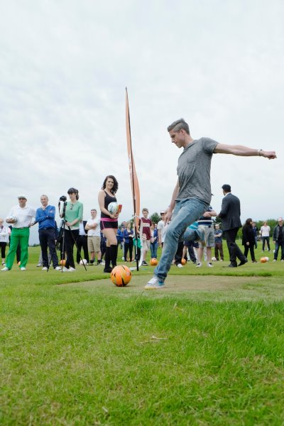 Former Leeds United FC player Andy Gray takes the first tee shot at Footgolf Leeds
