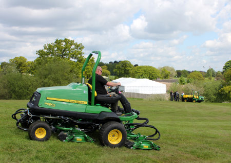 Cutting the rough on Morley Hayes' The Tower Course with one of the new 2014 range of John Deere mowers