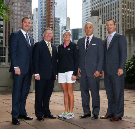 (from left): Mike Whan, Commissioner, LPGA Tour; John Veihmeyer, Chairman, KPMG; Stacy Lewis, LPGA Professional; Pete Bevacqua, CEO, PGA of America and Mike McCarley, President, Golf Channel (photo credit Getty Images)