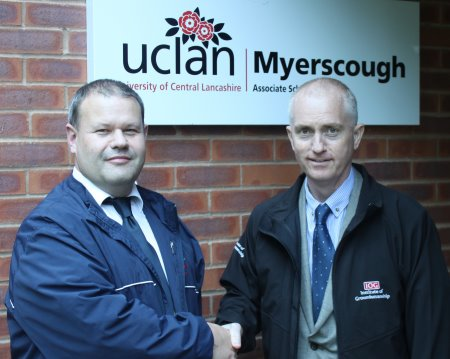 Driving education and training forward - IOG head of education Chris Gray (right) with Myerscough's Stewart Brown