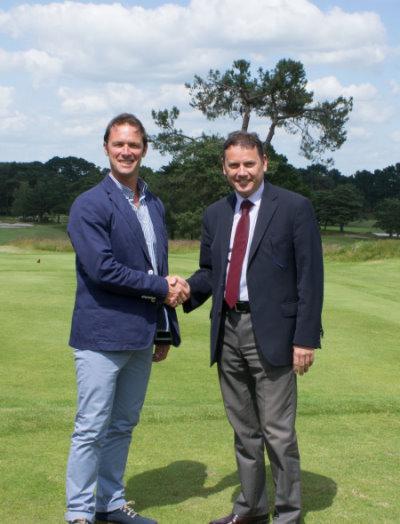 Murray Long, of Golf Course Developments Ltd with Ian Walton, General Manager of Ferndown Golf Club