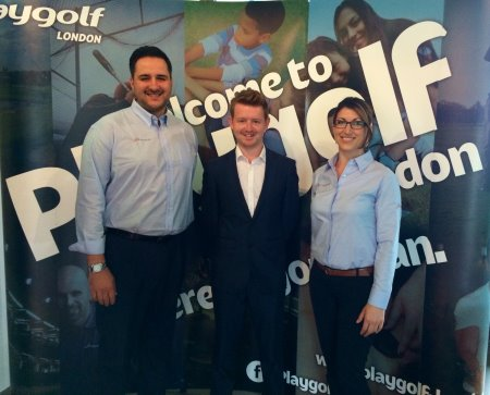 Paul Boguslavsky and Ionica Lupu from Playgolf with Simon Jones (centre) of the Golf Show Group
