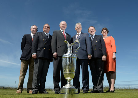 Simon Rankin, Captain Royal Portrush; Peter Unsworth, Chairman of The R&A Championship Committee; Deputy First Minister Martin McGuinness MLA; First Minister the Rt. Hon. Peter D Robinson MLA; Peter Dawson, Chief Executive The R&A; Enterprise, Trade and Investment Minister, Arlene Foster (photo The R&A)