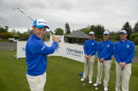 Aberdeen Asset Management announce an extension to their sponsorship of Amateur golf with the SGU, celebrating the deal today at the Duke's course, St Andrews were SGU Squad players, Bradley Neil, Ewen Ferguson, Jamie Savage and Graeme Robertson (Kenny Smith Photography)