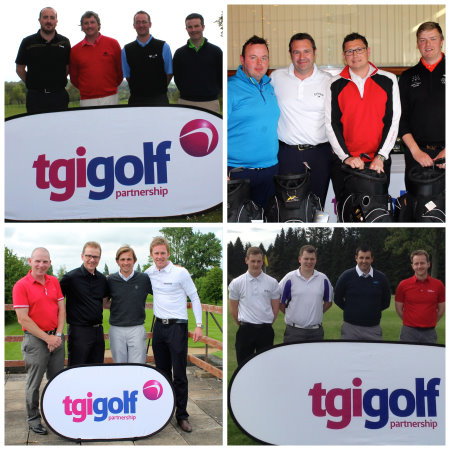 Winners of the TGI Golf Days (clockwise from top left) at Slieve Russell, Moor Allerton, Downfield and St Neots
