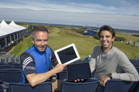 Ross Duncan (left) from the SGU with All Square®'s Arthur de Rivoire at The 2014 Aberdeen Asset Management Scottish Open at Royal Aberdeen