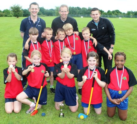 St Stephen's School pupils with PE co-ordinator Paul Puckey, left, Gareth Benson, centre, and Aaron Williams