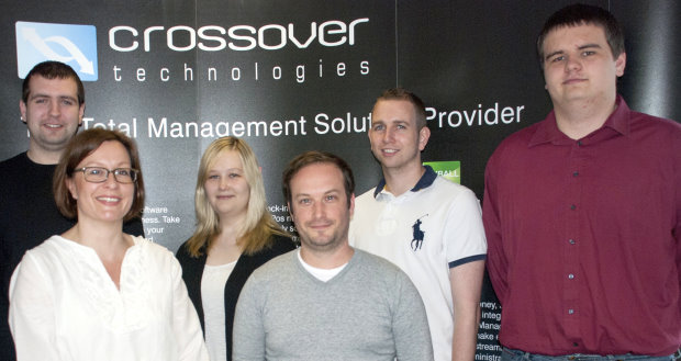 Crossover Technologies new support team pictured from left: Alan Heales, Claire Fraser, Avril Morgan, David Ridout, Laurence Cooper and James Bishop-Matthews.