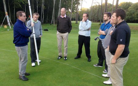 The students in a surveying exercise at Woking Golf Club with EIGCA Senior Member Tim Lobb