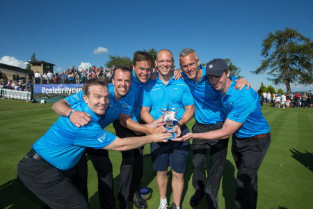 The England team, from left, Bradley Walsh, Graeme Swann, Peter Jones, Mike Tindall, Mark Foster and Matthew Goode with the Celebrity Cup trophy