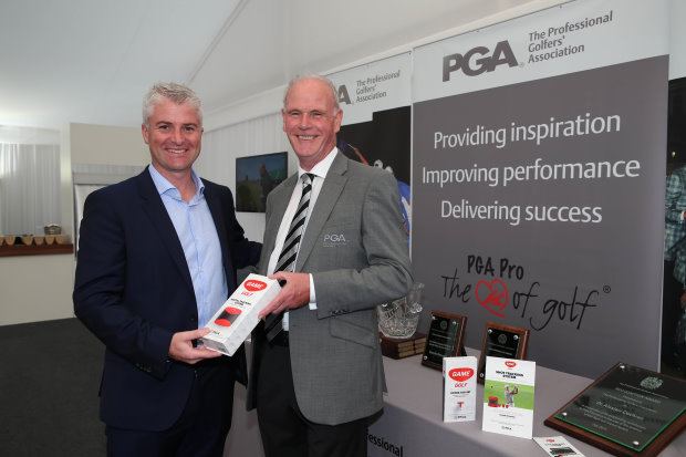 John McGuire, CEO of GAME GOLF and PGA chief executive Sandy Jones (Getty Images)