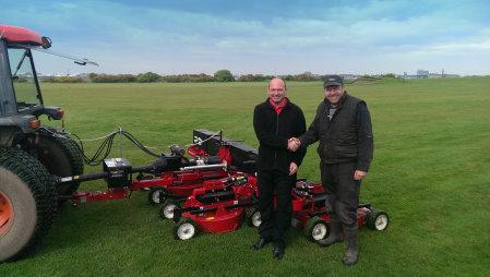 Jon Proffitt of The Grass Group (left) and Andrew Smallshaw, Head Greenkeeper