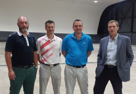 Pictured left to right inside Glow, Bluewater, are Damian Benstead from the London Golf Show, Barry Young and Terry Sims of Silvermere Golf Complex, and Mark De'Ath of Glow