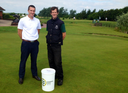 Paul Moreton (left), Germinal Seeds Technical Sales Representative for the North West, Midlands and North Wales, and Simon White with The Chase Golf Club's first delivery of AberMajesty