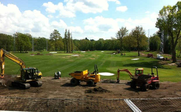 Speedcut Contractors working on the Silvermere Golf Club driving range.