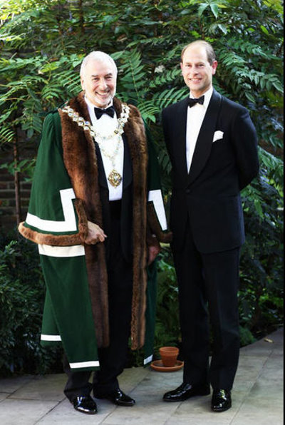 Stephen Bernhard, Master of the Worshipful Company of Gardeners, with HRH The Earl of Wessex