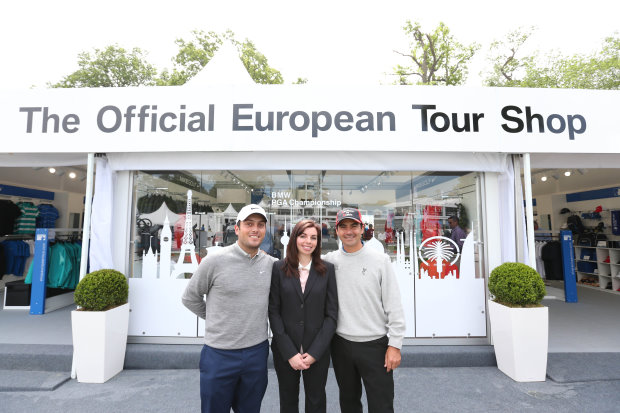 Isabella Rohrbach, Retail & Licensing Manager for the European Tour, alongside Francesco Molinari and Felipe Aguilar
