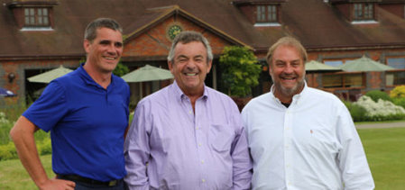 Tony Jacklin with Alan Pither, Magnolia Park owner (r) and Paul Bird, general manager (l)