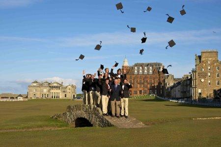 The 2013 WINSTONuniversity graduates celebrate on the Swilcan Bridge in St Andrews
