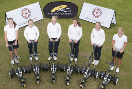 Members of the England Golf women's Performance and USA squads are pictured at the presentation of the new fleet of FW7 electric trolleys. From left: Olivia Winning (Rotherham), Bronte Law (Bramhall), Gabriella Cowley (Hanbury Manor), Sarah-Jane Boyd (Truro), Alex Peters (Notts Ladies'), Hayley Davis (Ferndown). (Image © Leaderboard Photography)