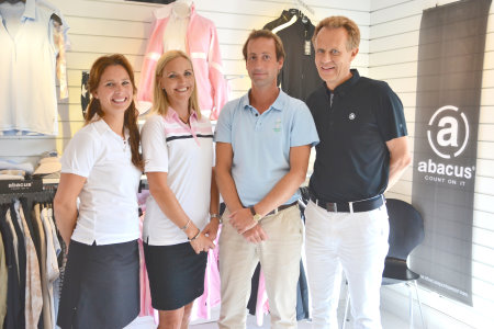 (from left) Chris Mattsson, head designer at Abacus Sportswear, Carin Koch, 2015 European Solheim Cup Team Captain, Marc Anderman, Solheim Cup Event Manager at Ladies European Tour, and Sven-Olof Karlsson, Owner and Managing Director of Abacus Sportswear