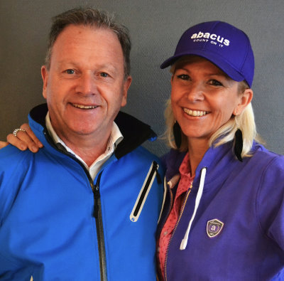Abacus Sportswear's new Swiss distributor, Bettina Bloesch, with Area Manager, Bengt-Olof Moberg