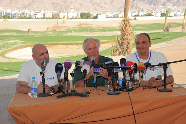 Greg Norman, centre, with Dr. Abed Al Razzaq Arabiyat, CEO, Jordan Tourism Board (left) and Sahl Dudin, Managing Director of Ayla Oasis Development Company, the master developer of Ayla (right)