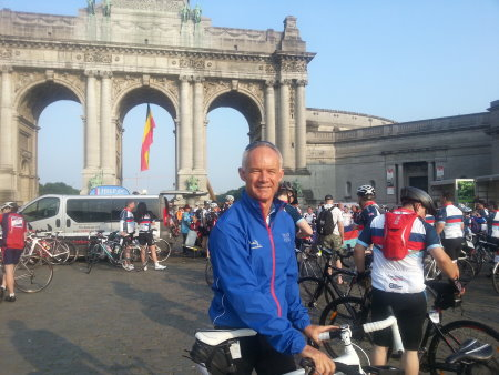 Colin Mayes poses by the Cinquantenaire Triumphal Arch in Brussels following his 335-mile ride for Help for Heroes