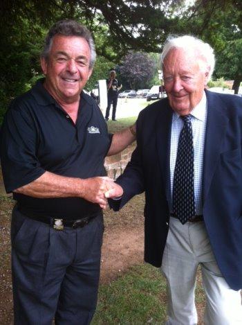 Michael Barrett congratulates Tony Jacklin