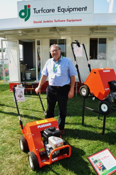 DJ Turfcare's David Jenkins and the Plugger PL410 on the stand at IOG SALTEX 2013