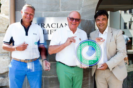 (from left): Stefan Blocher - Thracian Cliffs Ambassador, Wolfgang Kunneth - president of the Leading Golf Courses Europe, Claudio Marini - General Manager of Thracian Cliffs Resort).