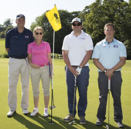 (from left) Dave Onions (National Liaison Officer for OCF); Diane Greenland HR Director American Golf; Alex Woolston (Employment Manager at OCF); Greig Phillips (OCF member