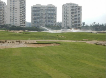 The irrigation system runs watering new Zeon Zoysia sod at the Olympic Golf Course in Rio (photo courtesy Marcelo Matte, Green Grass Brazil)