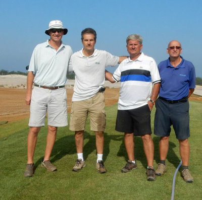 Olympic Golf Course Construction team (from left): Golf Course Architect Gil Hanse, Marcelo Matte of Green Grass Brazil, David Doguet of Bladerunner Farms and Superintendent Neil Cleverly (photo courtesy Marcelo Matte, Green Grass Brazil)