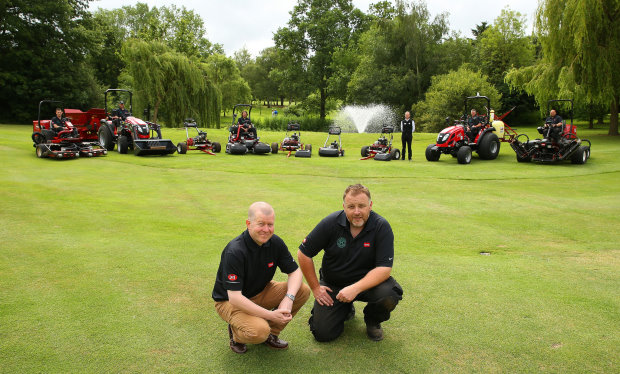 Euan MacKenzie, course manager at Chigwell Golf Club, on the right with Lely's Richard Freeman.