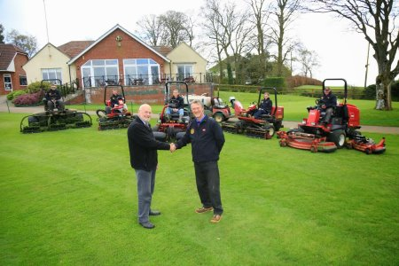 Chris Watson, course manager, (right) with Dennis Lumley from Devon Garden Machinery.