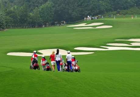 Players during Mixed Team Round 3 of golf at Nanjing 2014 Youth Olympic Games in Nanjing, capital of east China's Jiangsu Province, on August 26, 2014.