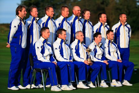 2014 European Ryder Cup Team in ProQuip Golf waterproofs (photo Getty Images).