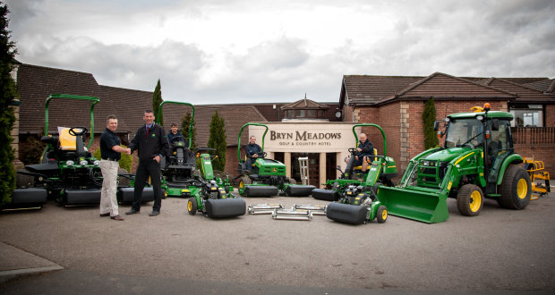 (Left to right) Bryn Meadow's course manager David Jakeway and turf equipment manager Gareth Beck of John Deere dealer Frank Sutton, with greens staff Thomas Morgan, Gareth Rowlands, head greenkeeper Mark Lamorte and the new golf course fleet.