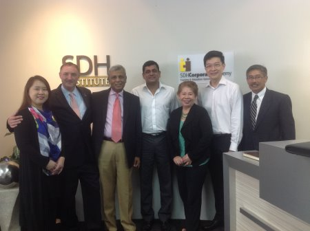From left: Alice Ho, Andy Stangenberg (president Q-Principle Inc), Mike Sebastian (president CMAA-Asia), Murali Nair (executive director SDH), Angela Raymond (executive director CMAA-Asia), Chia Tuck Keong (managing director SDH) and Lawrence Young (education director, CMAA-Asia)