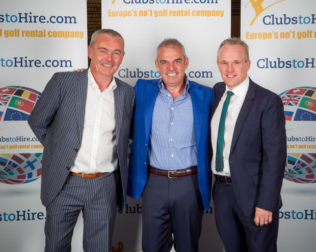 ClubstoHire Brand Ambassador Paul McGinley with principal investorGerry McKernan (left) and CEO Tony Judge (right)