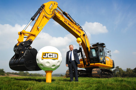 JCB Chairman Lord Bamford marks the start of work on JCB's new £30 million golf course