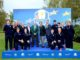 Scott Kelly, Marketing Director of Ryder Cup Europe, Colin Wood, President of the European Golf Association, Pascal Grizot, Chairman of Ryder Cup France 2018, and Thierry Pedros Vice President of Strategic Alliances at Disneyland Paris with the 2014 Junior Ryder Cup European Team