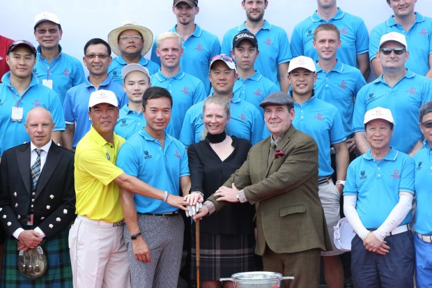 Pictured at the opening ceremony for the Mission Hills – St Andrews: Home to Home Scholarship Fundraising Championship are (from left): Zhang Lianwei; Mr. Tenniel Chu, Vice Chairman of Mission Hills Group; Dr. Lindsay Porter from the University of St Andrews; and Mr Steve Notman of Historic Scottish Golf (photograph by Miao Hua/Mission Hills)